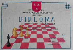 Het diploma dat Anton Bregman in 1948 ontving bij zijn clubkampioenschap