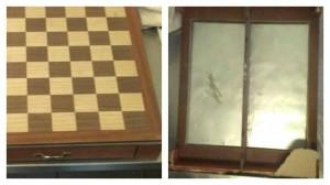 Het schaakbord waarin de snoodaard het goud verstopt had.