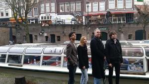 Anish Giri, Hans B?hm, Anne Haast en Jorden van Foreest. Foto: Jeroen Van Den Berg