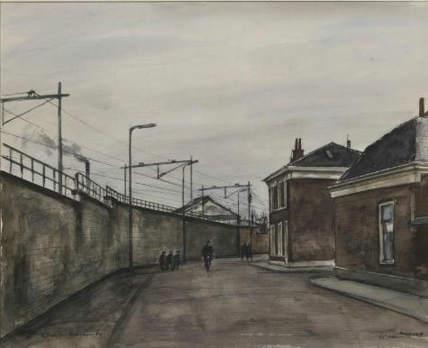 De Boorstraat ter hoogte van de Spijkerstraat, (1964 , waterverf, Ch.Kemper).