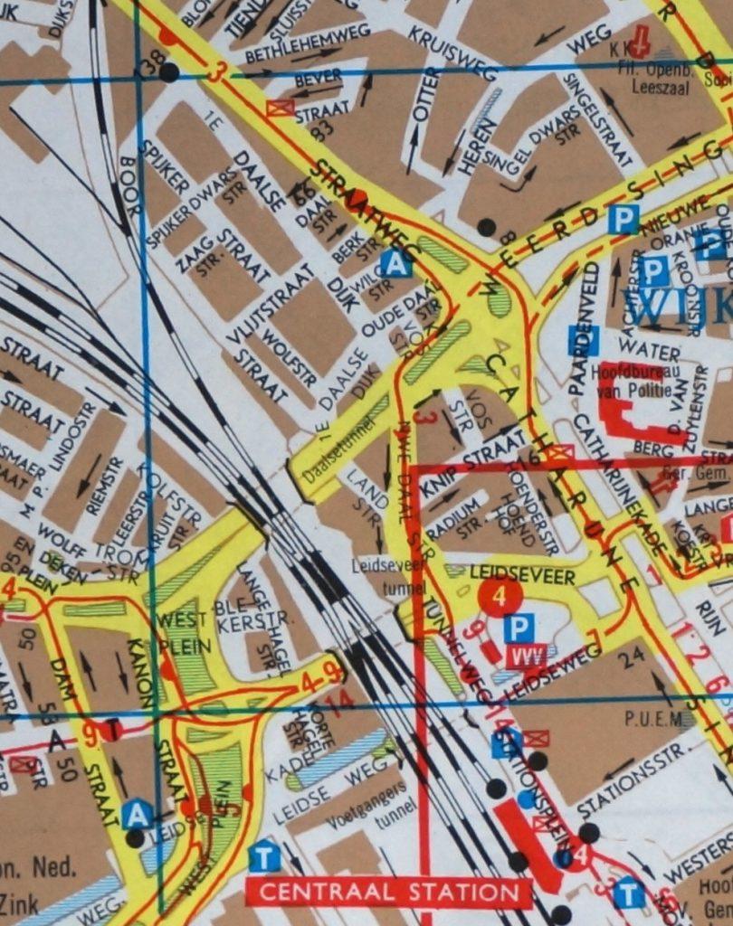 FalkplanUtrechtStadskaartStation1970rondDaalsetunnel